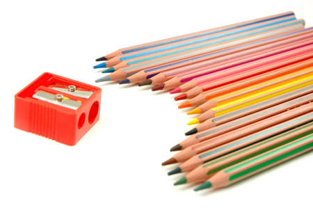 Striped coloured pencils and sharpener Stock Photo - 6770284