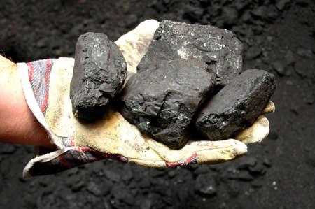 Noir de charbon dans la main du mineur  Banque d'images