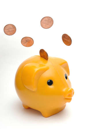 Piggy bank and penny photo