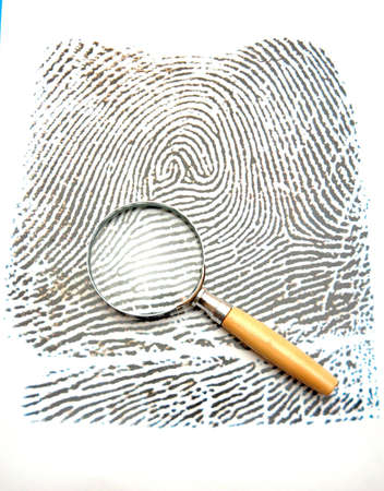 Fingerprint and magnifying glass photo
