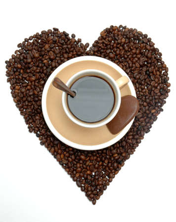 Coffee in  coffee beans heart shape photo
