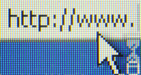 internet address on computer screen macro photo