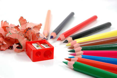 swarf: Coloured pencils ,sharpener and swarf of sharpenerd wood