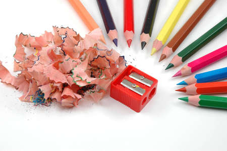 swarf: Sharpener, swarf of woods and sharpened pencils ready to draw