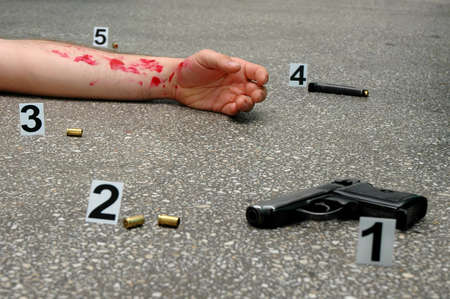 Murder - place of shooting Stock Photo