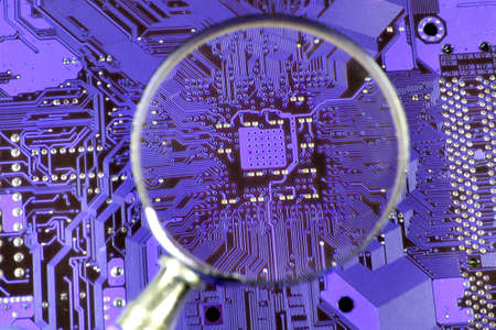 Printed circuit board seen by magnifying glass photo