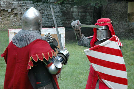 Duel between two knights Stock Photo