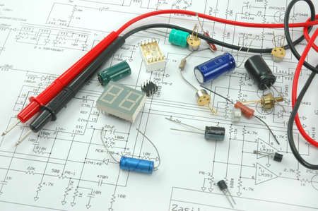 Electronic scheme with components photo