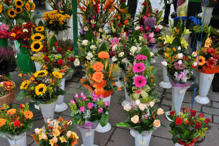 market stall: Market Stall with flowers
