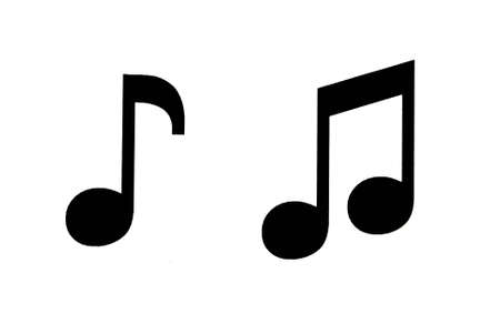 musical note: Black symbols-musical notes on white background