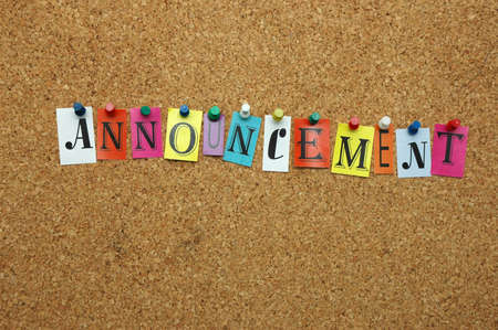 noticeboard: Announcement pinned on noticeboard Stock Photo