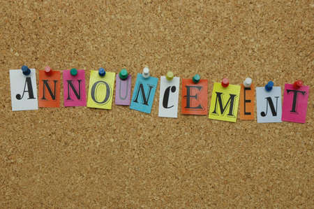 Announcement pinned on noticeboard Stock Photo - 8644201