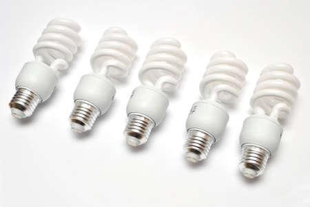 florescent light: Compact Florescent Light Bulbs on white background