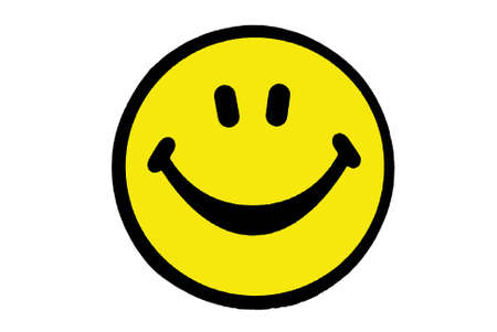 Smile yellow face on white background photo