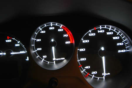 Gauges  of the speed, the tachometer and indicators of the temperature and the state of fuel  photo