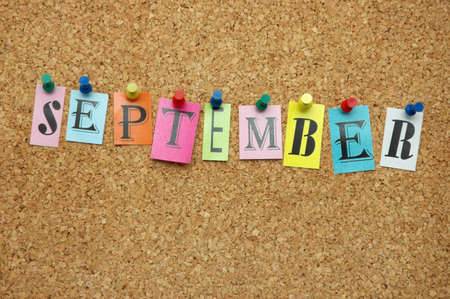 September, month pinned on noticeboard Stock Photo - 8857984