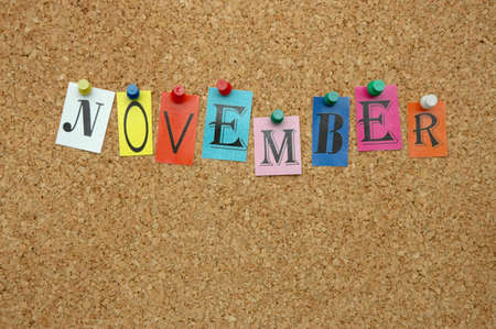 pinned: November, month pinned on noticeboard