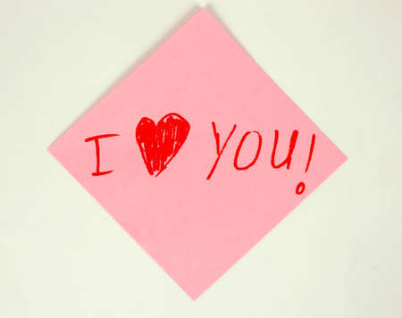 I love You on color paper Stock Photo - 9291665