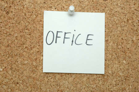 Office - written on ote paper and pinned on notice board Stock Photo - 9291670