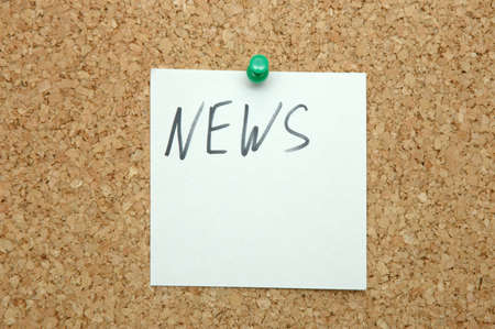 News- on note paper pinned cork board Stock Photo - 9291702