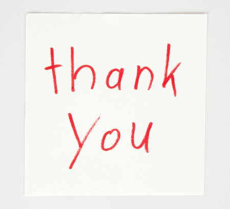 nformation: Thank You -written on note paper