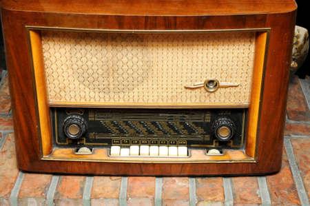 Vintage radio on the shelf  photo