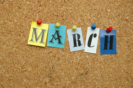 months: March, month pinned on noticeboard