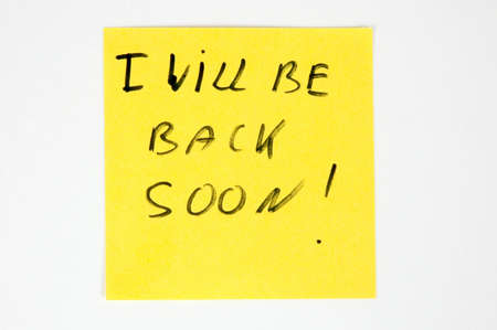 I will be back soon- on color paper Stock Photo - 9354587