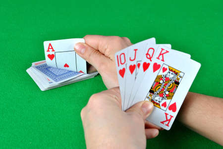 Royal Flush in playing cards Stock Photo - 9375323
