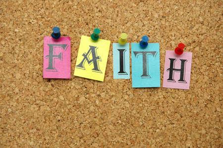 noticeboard: Faith pinned on noticeboard Stock Photo