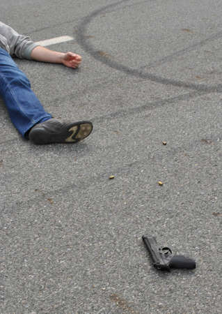 murder: Crime Scene- place of shooting with dead body Stock Photo