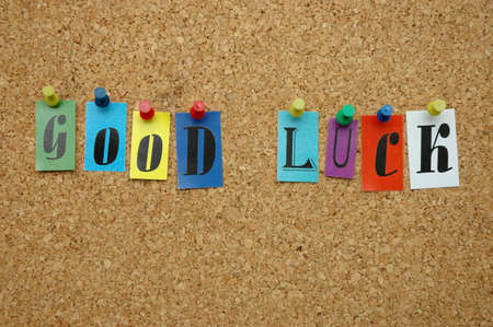 Good luck pinned on noticeboard Stock Photo - 9640875