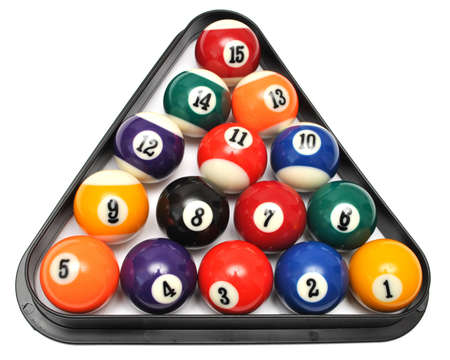 9 ball: Set of billiard balls in triangle