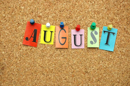 August, month pinned on noticeboard Stock Photo - 9803660