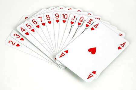 Set of playing cards -Hearts suit
