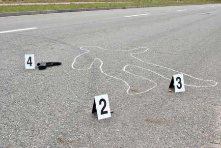 Crime scene - omicidio in strada Archivio Fotografico