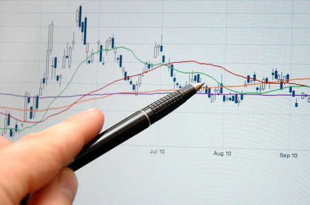 Analysis of the graph on the display screen Stock Photo