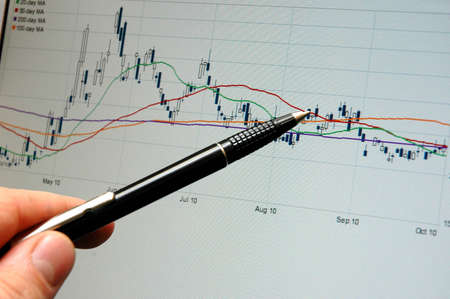 Analysis of the graph on the display screen Stock Photo - 12075037