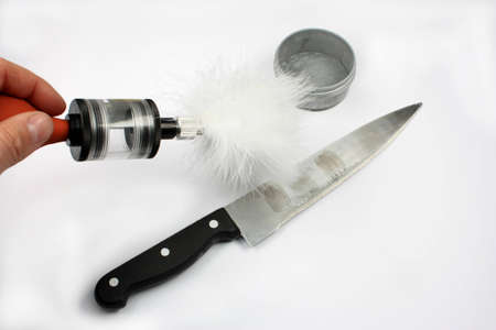 Reveal criminological marks on the knife Stock Photo