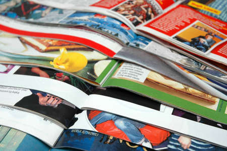 Stack of  color magazines Stock Photo