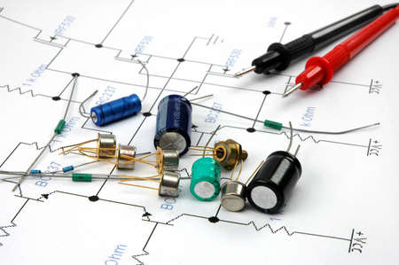 capacitor: Electronic components on electronic scheme
