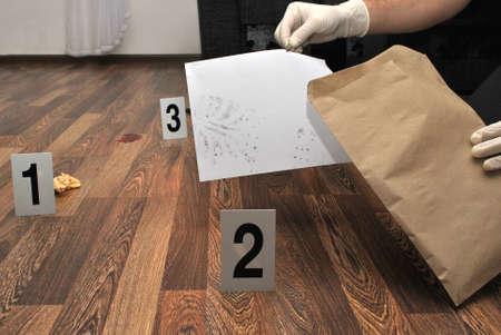 scene of the crime: Crime scene- revealing and preserving criminological tracks Stock Photo
