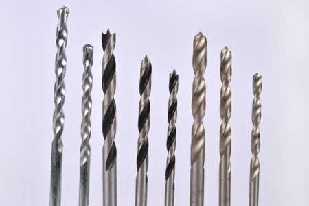drill bit: Set of drill bits- lip and spur , masonry bit , twist drill bits Stock Photo