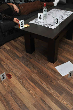 revealing tracks: Place of murder- revealing criminological tracks Stock Photo