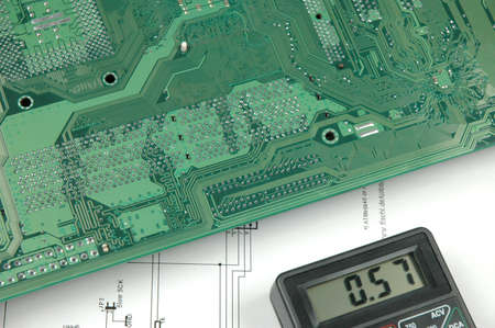 electronic scheme: electronic meter, printed circuit board and electronic scheme Stock Photo