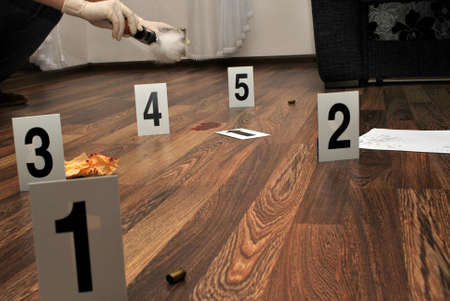 Crime scene- revealing and preserving criminological tracks Stock Photo