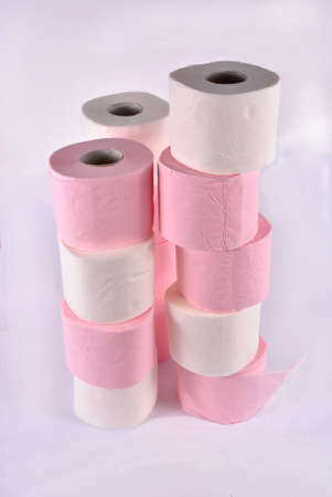 unwound: White and pink toilet paper