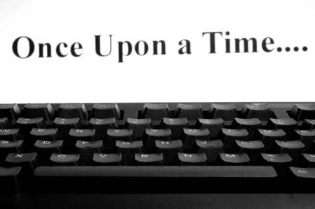 once: Once upon a time on screen computer Stock Photo