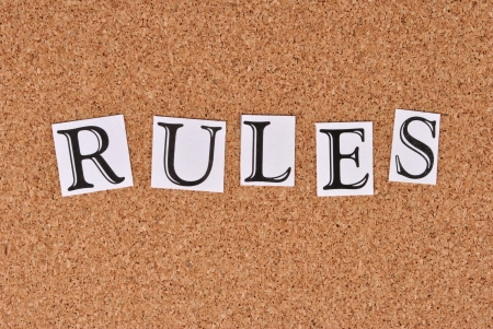 Rules on cork-board Stock Photo - 15552154