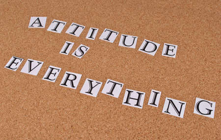 Attitude is everything - saying on cork board Stock Photo - 15560853